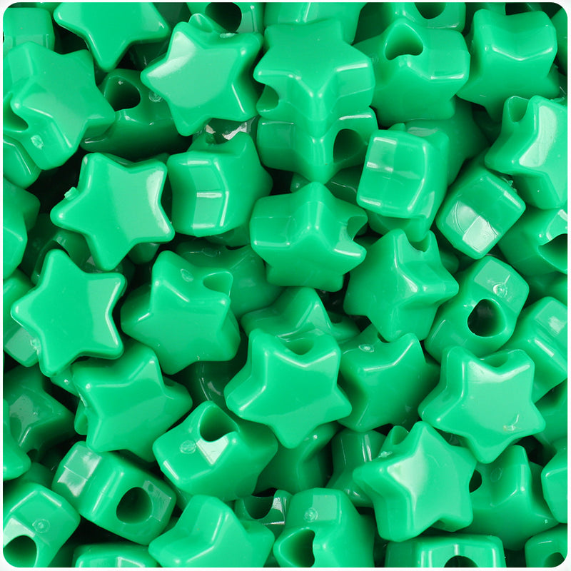 Green Opaque 13mm Star Pony Beads (250pcs)