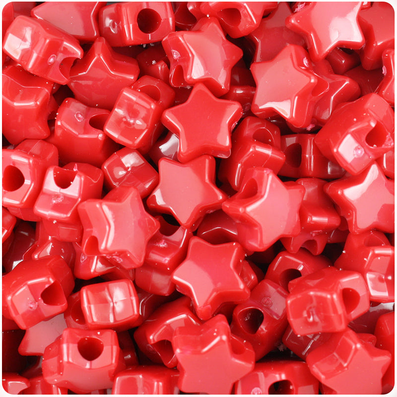 Red Opaque 13mm Star Pony Beads (250pcs)