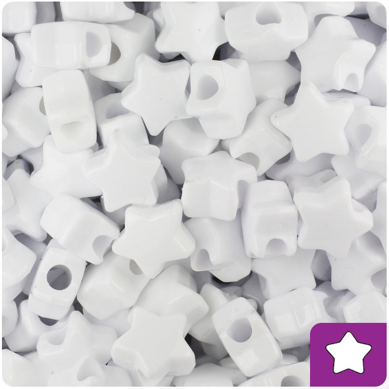 White Opaque 13mm Star Pony Beads (250pcs)