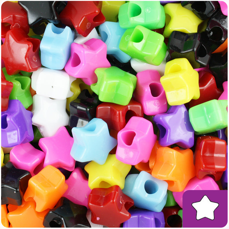 Opaque Multi 13mm Star Pony Beads (250pcs)