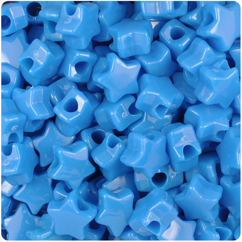 True Blue Neon Bright 13mm Star Pony Beads (250pcs)