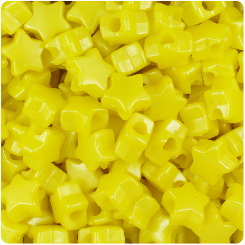 Yellow Pearl 13mm Star Pony Beads (250pcs)