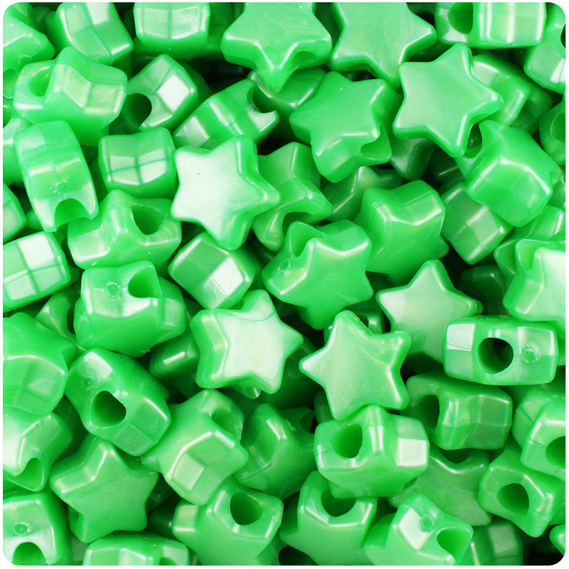 Bright Green Pearl 13mm Star Pony Beads (250pcs)