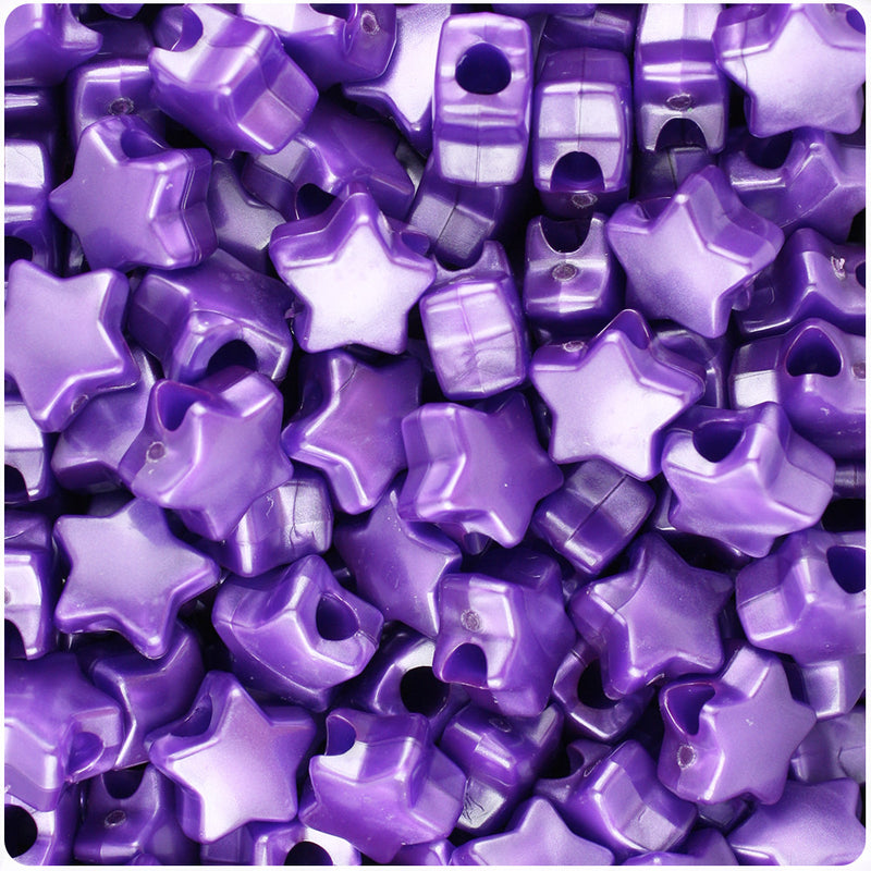 Dark Purple Pearl 13mm Star Pony Beads (250pcs)