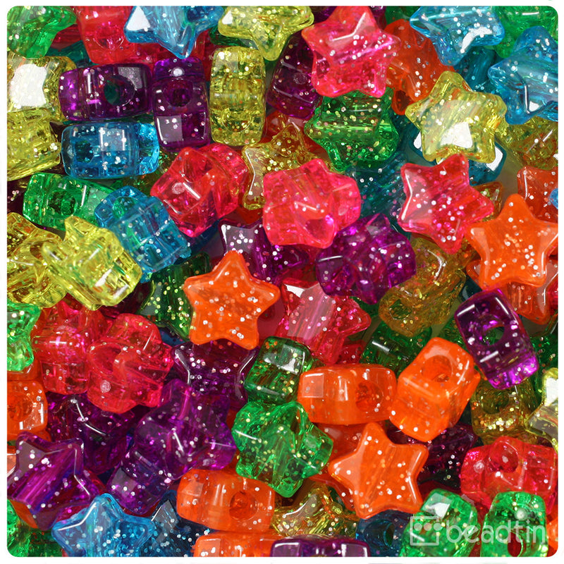 Jelly Mix Sparkle 13mm Star Pony Beads (250pcs)