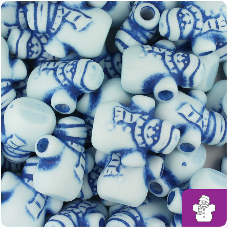 White & Blue Antique 22mm Snowmen Pony Beads (24pcs)