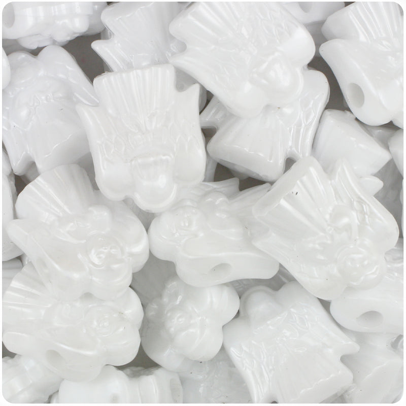 White Pearl 22mm Angel Pony Beads (24pcs)