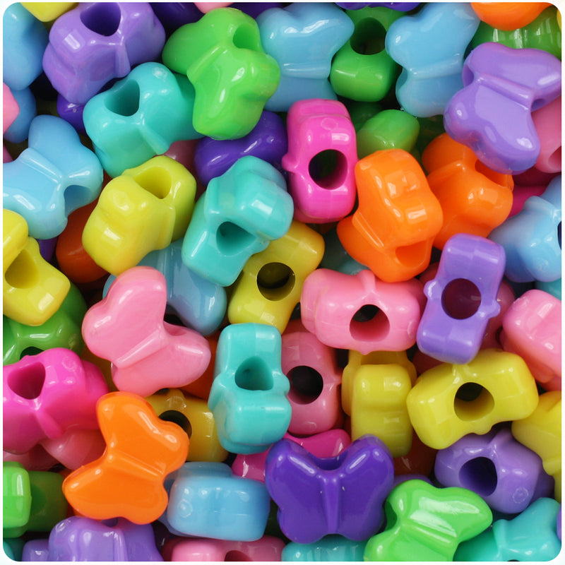Bright Mix Opaque 13mm Butterfly Pony Beads (250pcs)