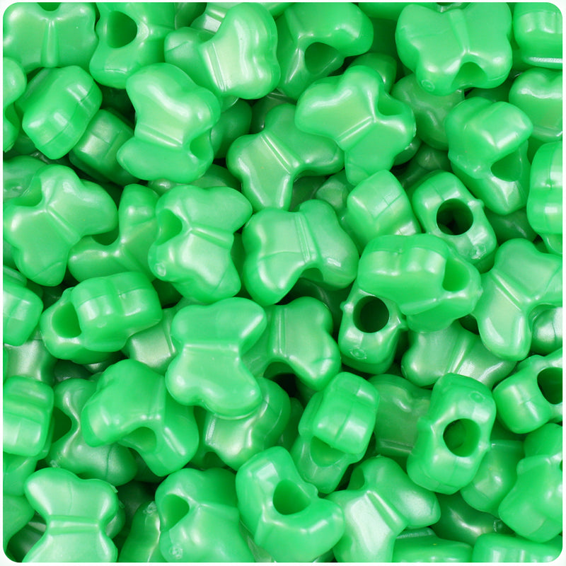 Bright Green Pearl 13mm Butterfly Pony Beads (250pcs)