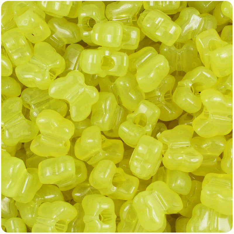 Yellow Glow 13mm Butterfly Pony Beads (250pcs)
