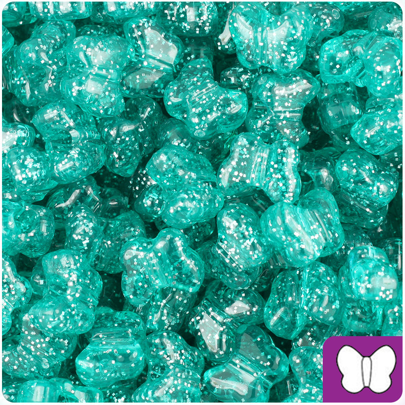 Teal Sparkle 13mm Butterfly Pony Beads (250pcs)