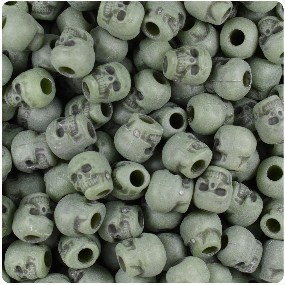 150 Night Glow Antique 11mm Skull Pony Beads Made in the USA