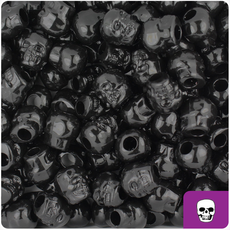 Black Opaque 11mm Skull Pony Beads (150pcs)