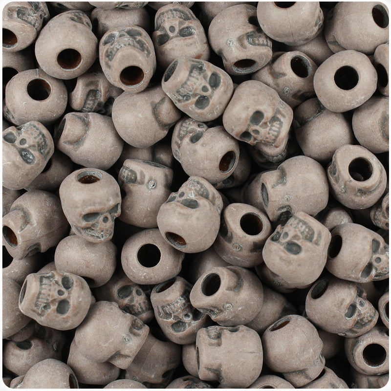 Chocolate Antique 11mm Skull Pony Beads (150pcs)