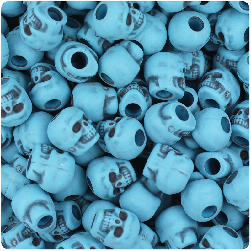 Dark Turquoise Antique 11mm Skull Pony Beads (150pcs)