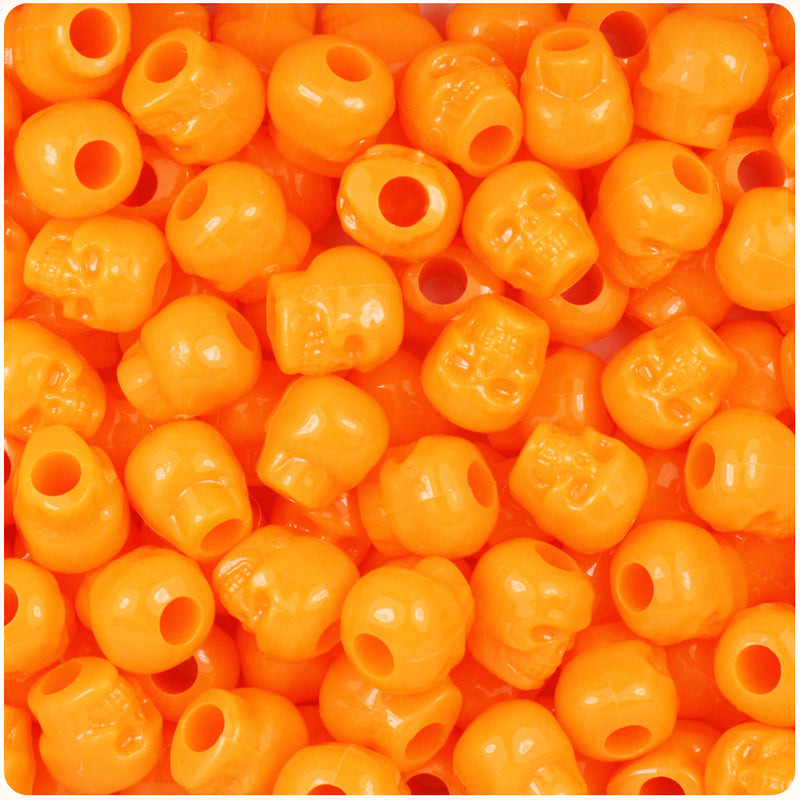 Orange Opaque 11mm Skull Pony Beads (150pcs)