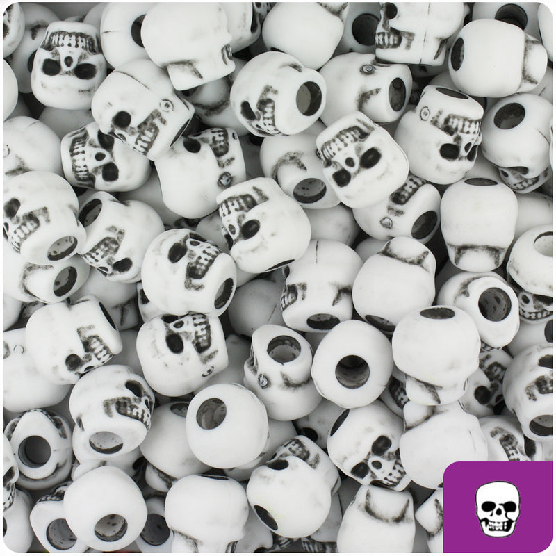 White Antique 11mm Skull Pony Beads (150pcs)