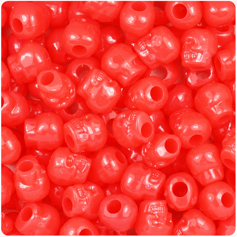 Bright Red Opaque 11mm Skull Pony Beads (150pcs)