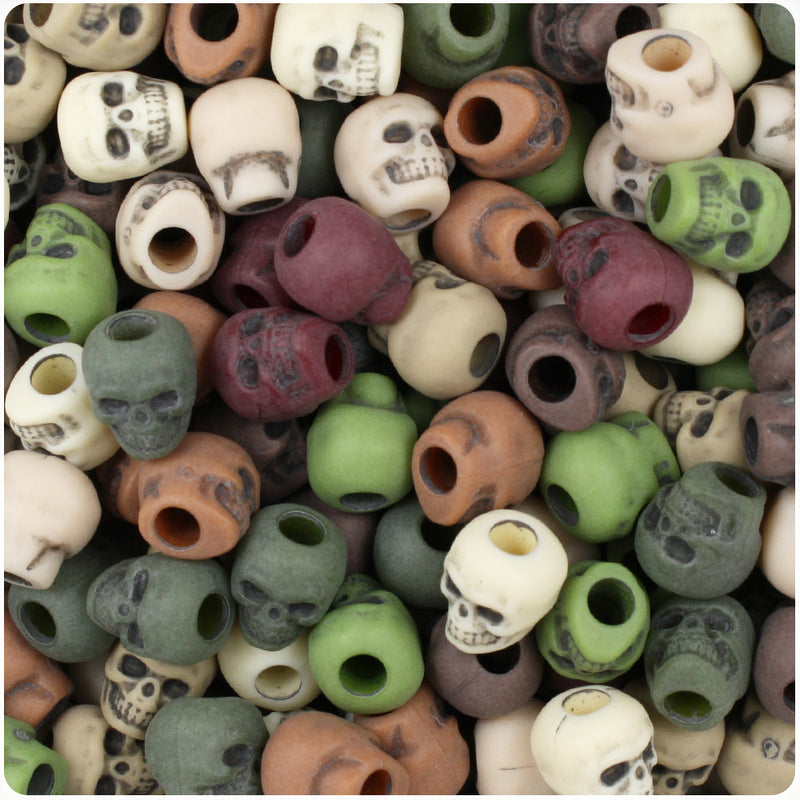 Camouflage Mix Antique 11mm Skull Pony Beads (150pcs)
