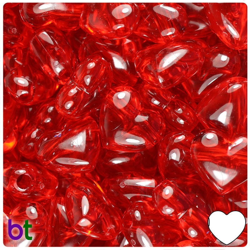 Ruby Transparent 18mm Heart Pony Beads (24pcs)