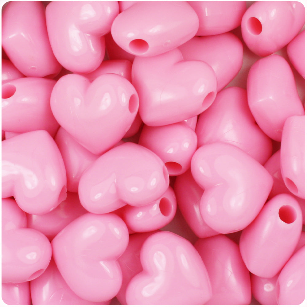 Baby Pink Opaque 18mm Heart Pony Beads (24pcs)