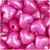 Hot Pink Pearl 18mm Heart Pony Beads (24pcs)