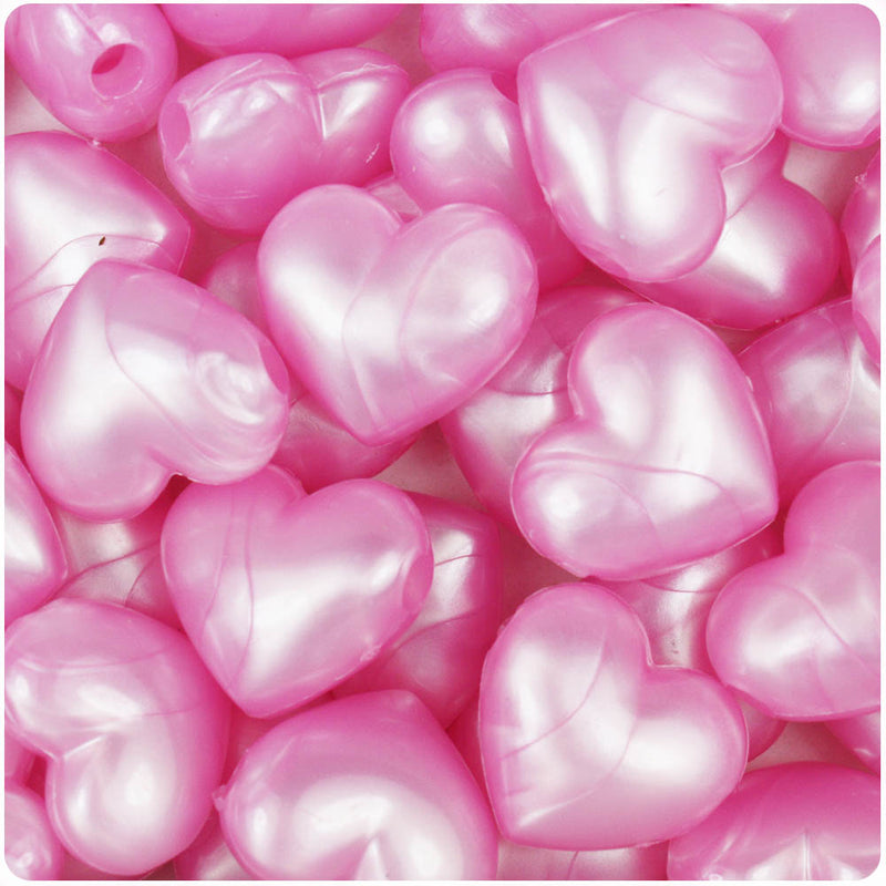 Light Pink Pearl 18mm Heart Pony Beads (24pcs)