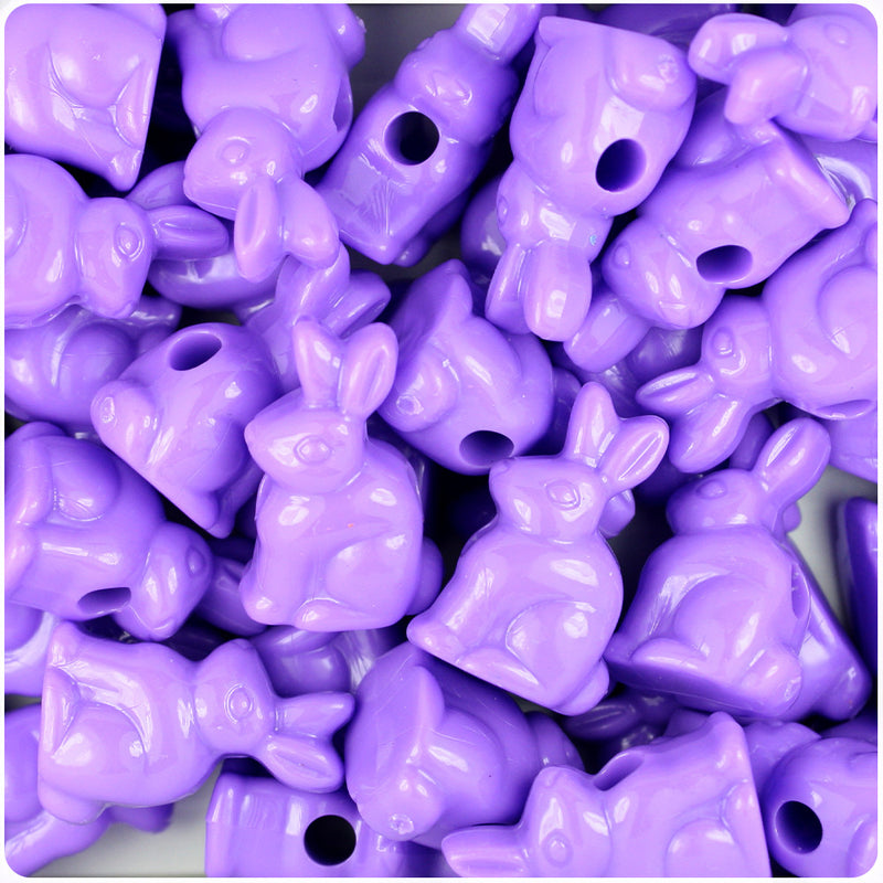 Lilac Opaque 24mm Bunny Rabbit Pony Beads (24pcs)