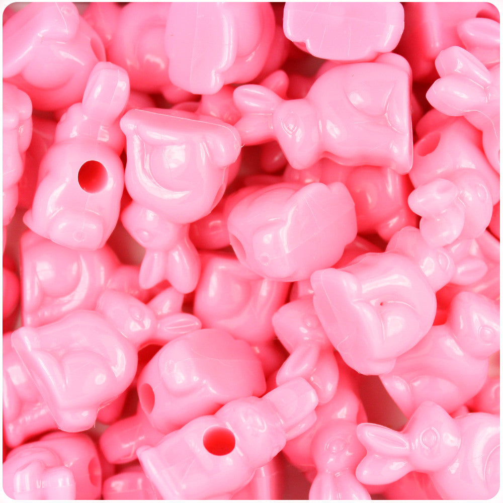 Baby Pink Opaque 24mm Bunny Rabbit Pony Beads (24pcs)
