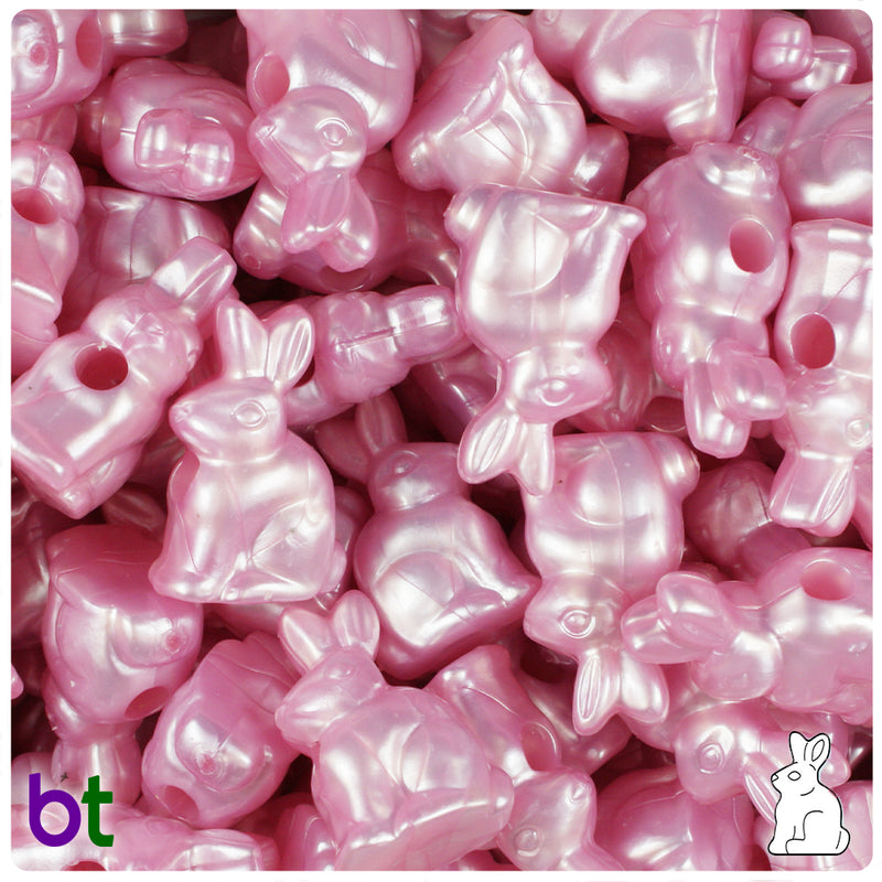 Light Pink Pearl 24mm Bunny Rabbit Pony Beads (24pcs)