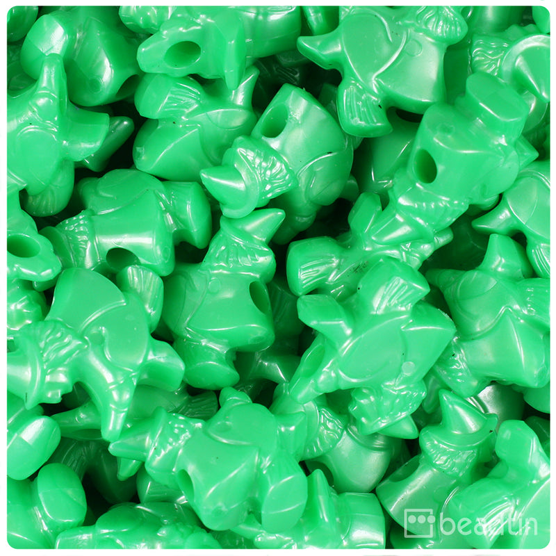 Bright Green Pearl 24mm Witch Pony Beads (24pcs)