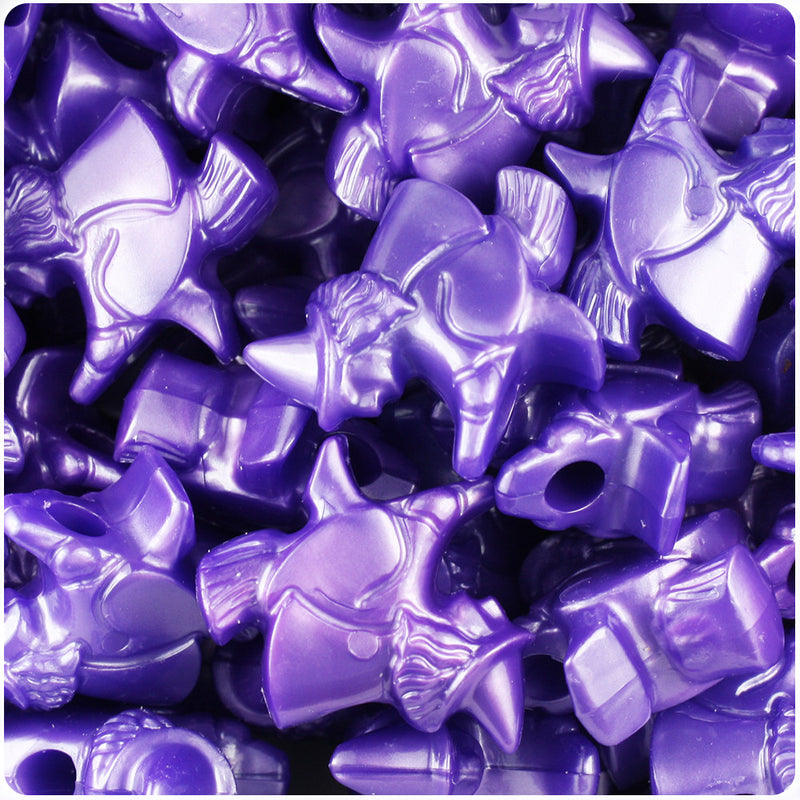 Dark Purple Pearl 24mm Witch Pony Beads (24pcs)