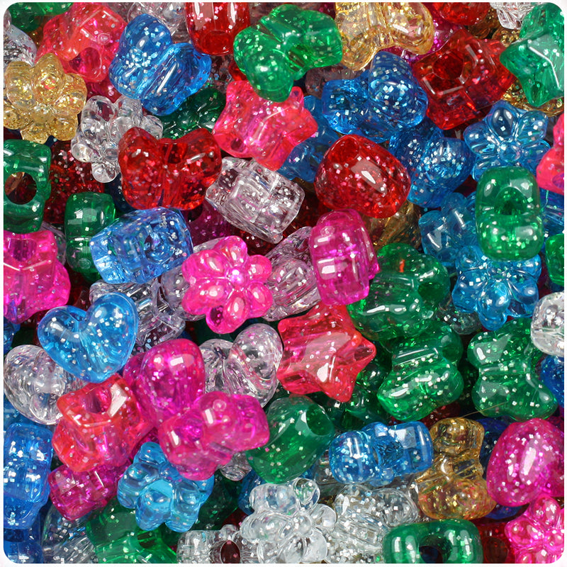 Classic Mix Sparkle 13mm Small Shape Mix Pony Beads (113g)