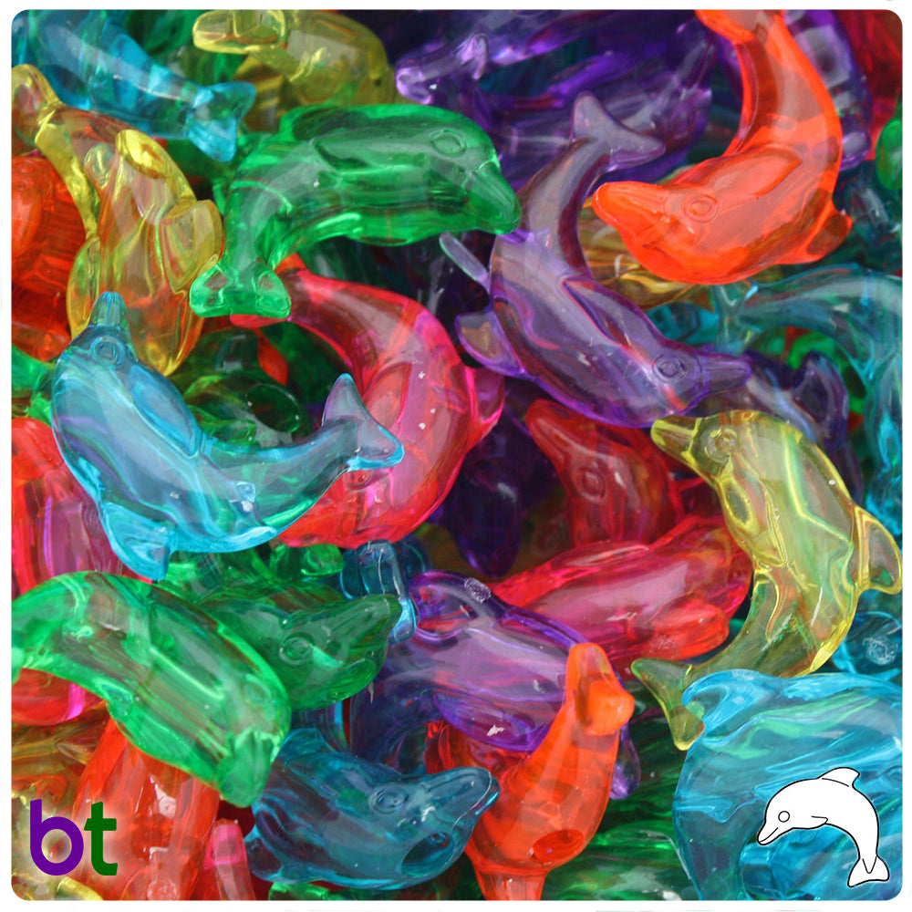 Jelly Mix Transparent 25mm Dolphin Pony Beads (24pcs)