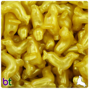 Yellow Pearl 24mm Seal Pony Beads (24pcs)