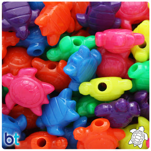 Neon Bright Mix 23mm Sea Turtle Pony Beads (24pcs)