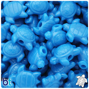 True Blue Neon Bright 23mm Sea Turtle Pony Beads (24pcs)