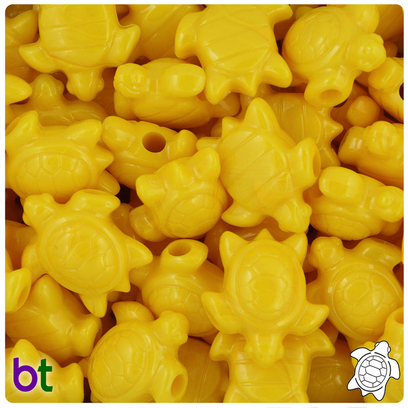 Bright Yellow Opaque 23mm Sea Turtle Pony Beads (24pcs)