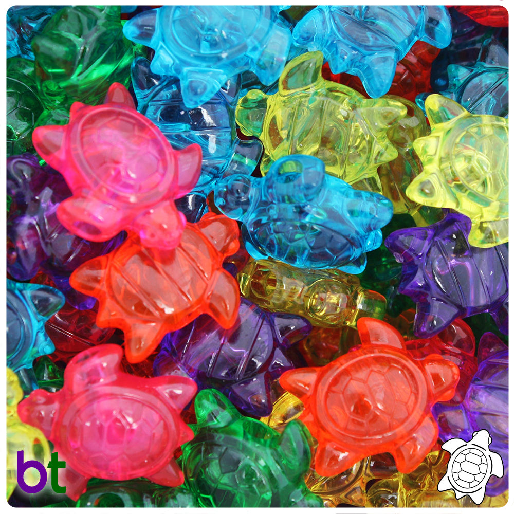 Jelly Mix Transparent 23mm Sea Turtle Pony Beads (24pcs)