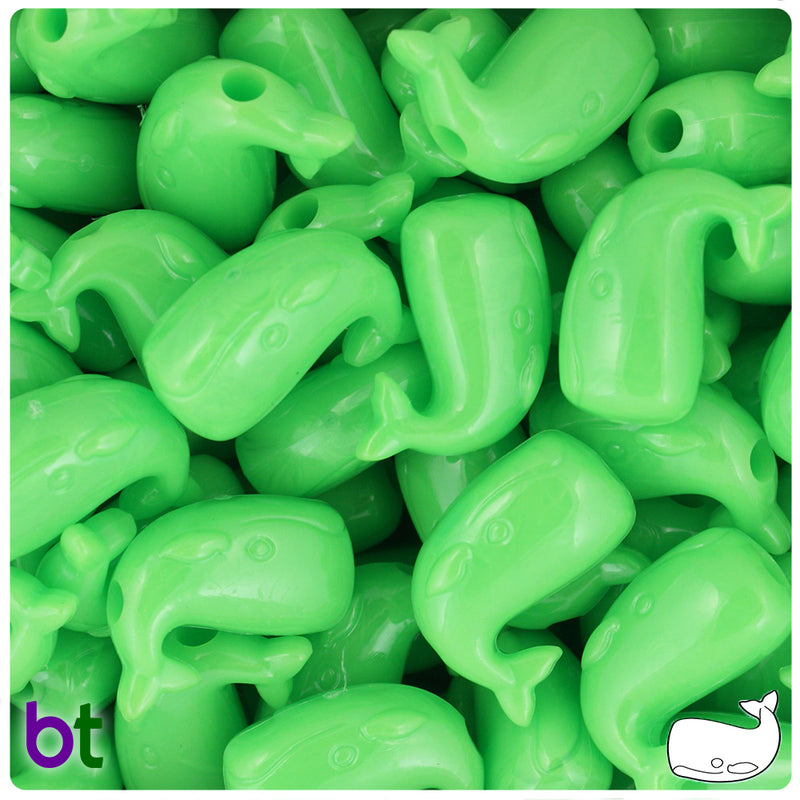 Lime Opaque 24mm Whale Pony Beads (24pcs)