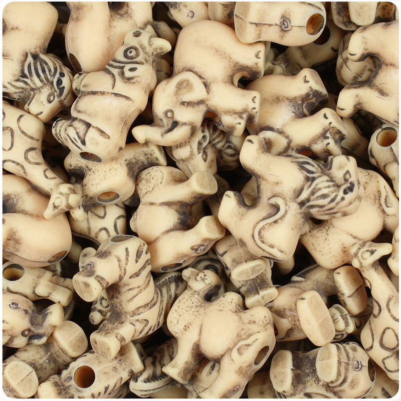 Sand Antique Safari Animal Pony Beads (55g)