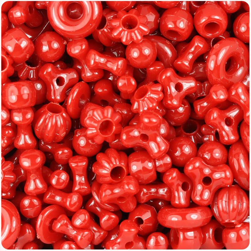 Red Opaque Craft Bead Mix (113g)