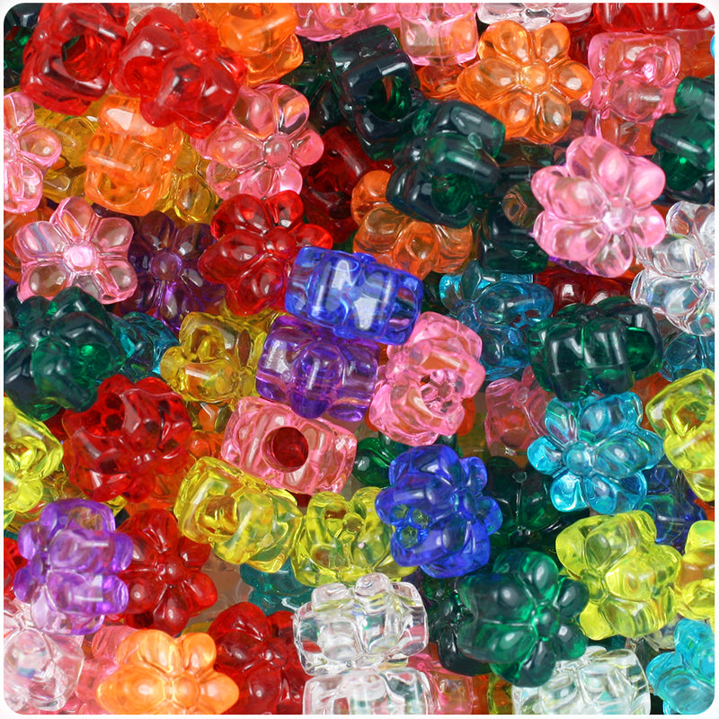 Transparent Multi 13mm Flower Pony Beads (250pcs)