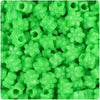 Lime Opaque 13mm Flower Pony Beads (250pcs)