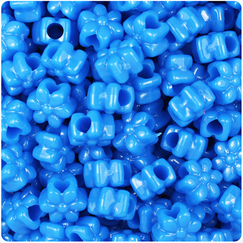 True Blue Neon Bright 13mm Flower Pony Beads (250pcs)