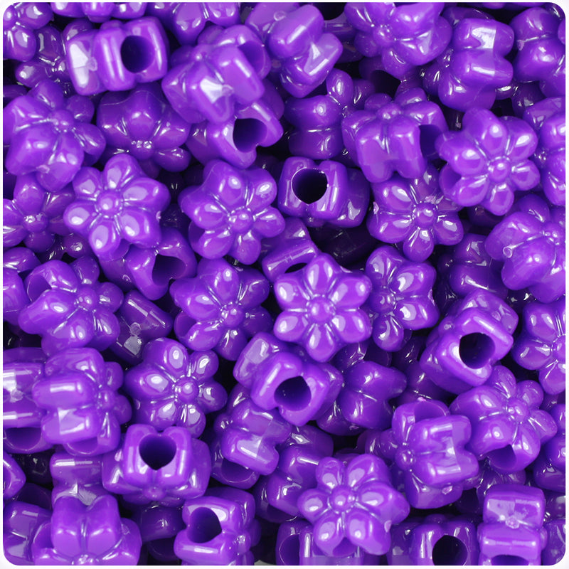 Plum Neon Bright 13mm Flower Pony Beads (250pcs)