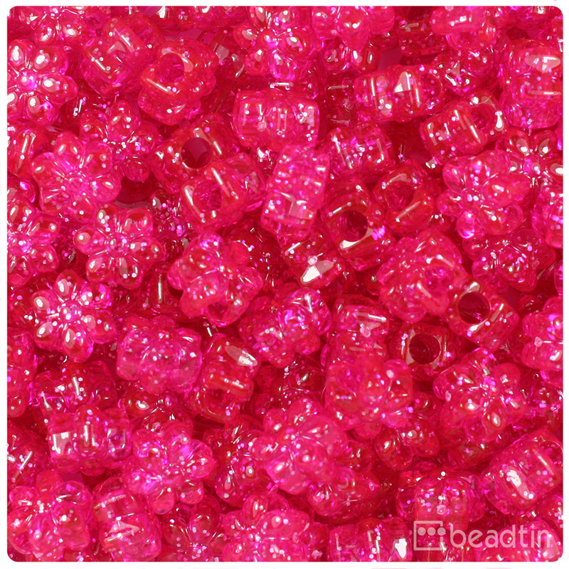 Bright Pink Sparkle 13mm Flower Pony Beads (250pcs)