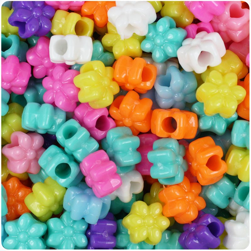 Bright Mix Opaque 13mm Flower Pony Beads (250pcs)