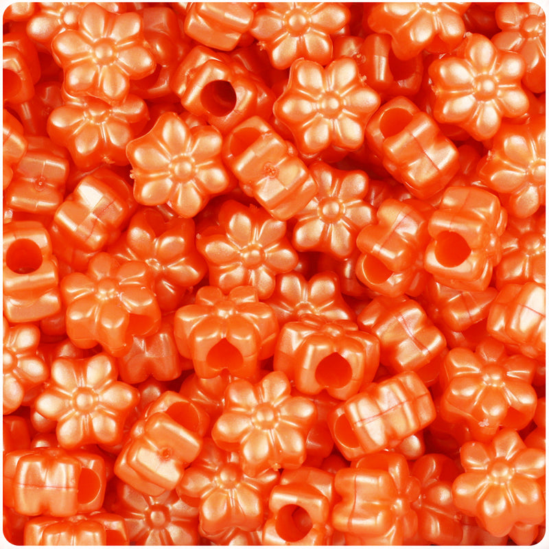 Orange Pearl 13mm Flower Pony Beads (250pcs)