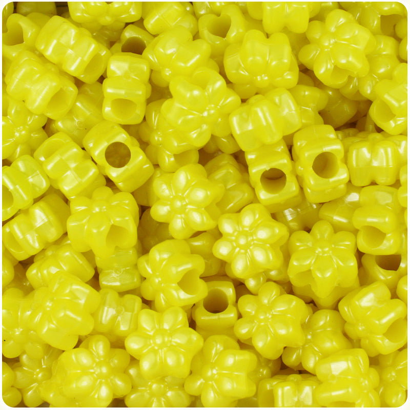 Yellow Pearl 13mm Flower Pony Beads (250pcs)